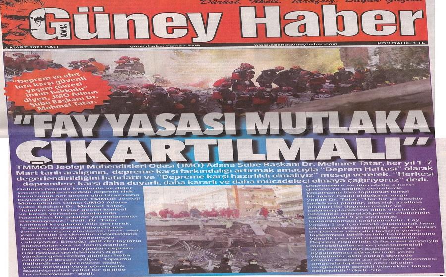 Güney Haber Gazetesi Kapak Sayfası