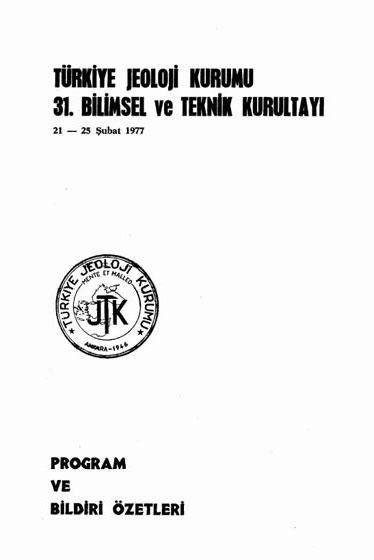 31.türkiye Jeoloji Kurultayý